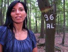 11517 - Femme coquine exhibe ses seins en forêt
